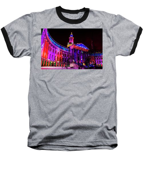 Denver City And County Building Holiday Lights Baseball T-Shirt