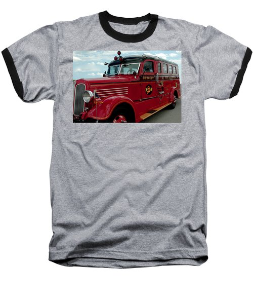 Detroit Fire Truck Baseball T-Shirt
