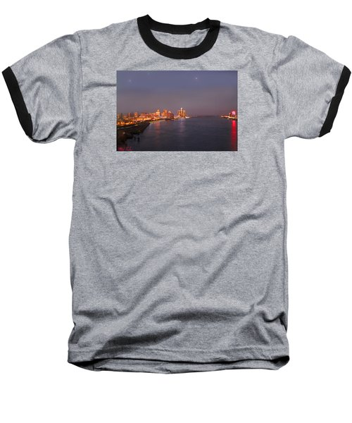 Baseball T-Shirt featuring the photograph Detroit Skyline At Night by Michael Rucker