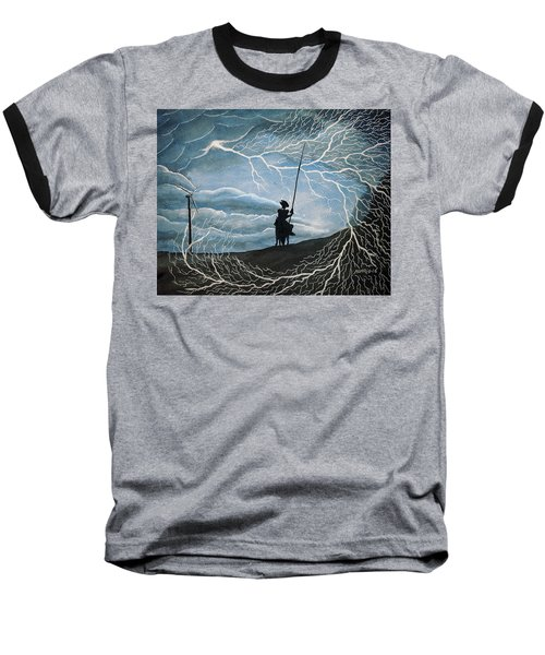 Baseball T-Shirt featuring the painting Don Quijote by Edwin Alverio