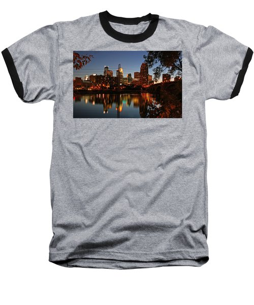 Downtown Minneapolis At Night Baseball T-Shirt