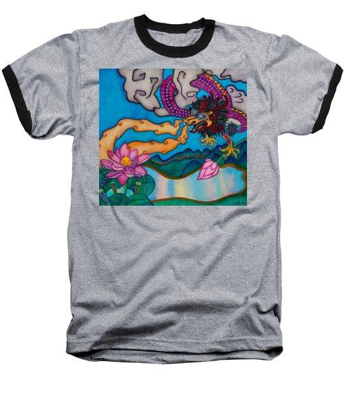 Dragon Heart And Lotus Flower Baseball T-Shirt by Lori Miller