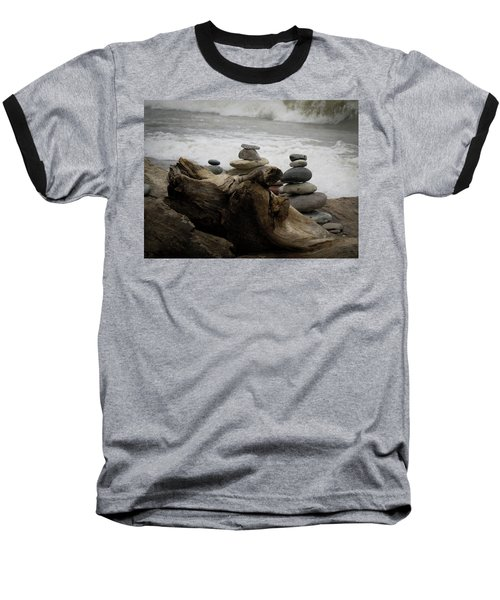 Driftwood Cairns Baseball T-Shirt by Kimberly Mackowski