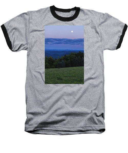 Baseball T-Shirt featuring the photograph East Dover Full Moon by Tom Singleton