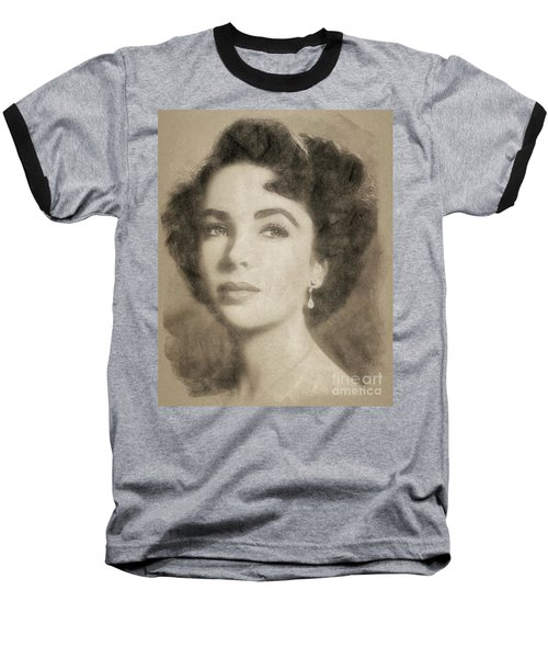 Elizabeth Taylor Hollywood Actress Baseball T-Shirt by John Springfield
