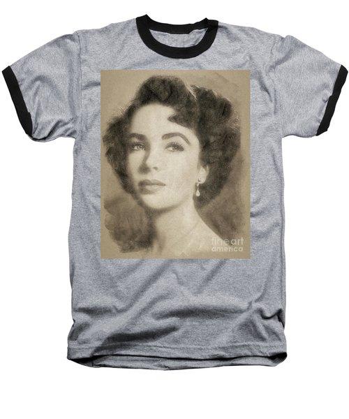 Elizabeth Taylor, Vintage Hollywood Legend By John Springfield Baseball T-Shirt by John Springfield