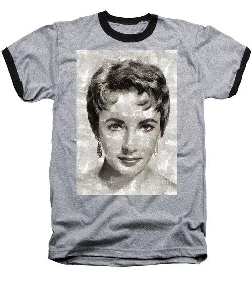 Elizabeth Taylor, Vintage Hollywood Legend Baseball T-Shirt by Mary Bassett