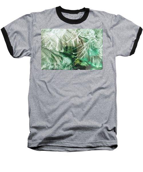 Encaustic Abstract Green Foliage Baseball T-Shirt
