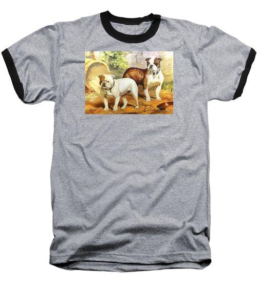 Baseball T-Shirt featuring the digital art English Bulldogs by Charmaine Zoe