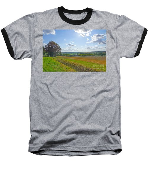 English Countryside Baseball T-Shirt by Andrew Middleton
