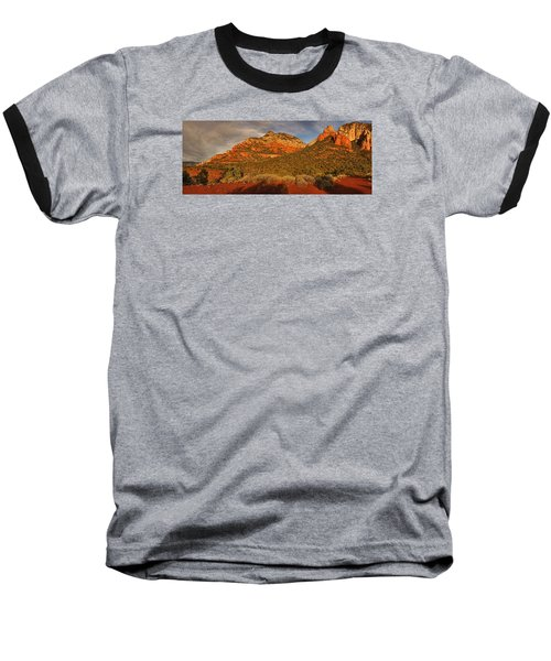 Evening Shadows Pano Txt Baseball T-Shirt