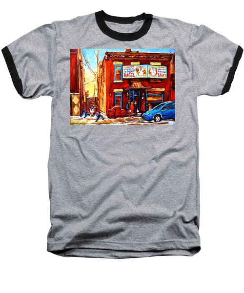 Baseball T-Shirt featuring the painting Fairmount Bagel In Winter by Carole Spandau