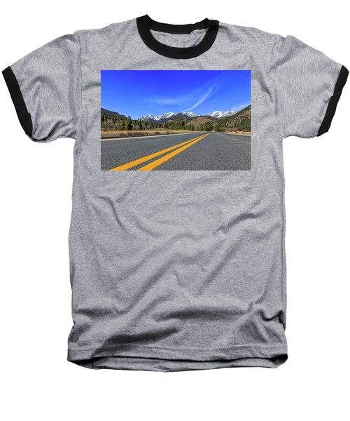 Fall River Road With Mountain Background Baseball T-Shirt