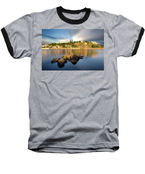 Famous Vysehrad Church During Sunny Day. Amazing Cloudy Sky In Motion. Vltava River, Prague, Czech Republic Baseball T-Shirt