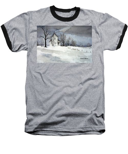 Farmhouse In Winter Baseball T-Shirt