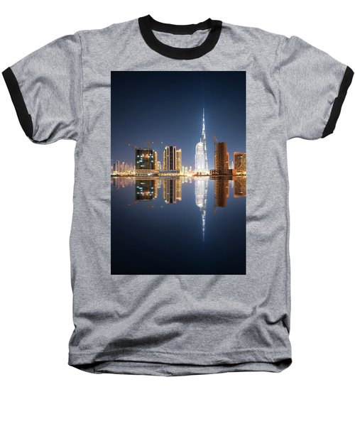 Fascinating Reflection Of Tallest Skyscrapers In Business Bay District During Calm Night. Dubai, United Arab Emirates. Baseball T-Shirt