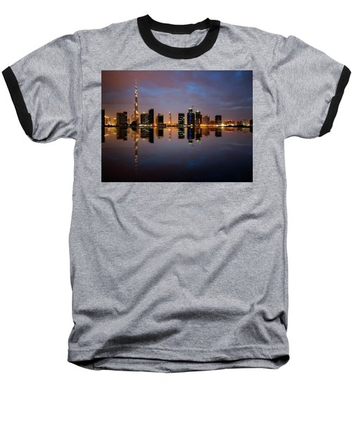 Fascinating Reflection Of Tallest Skyscrapers In Bussiness Bay D Baseball T-Shirt