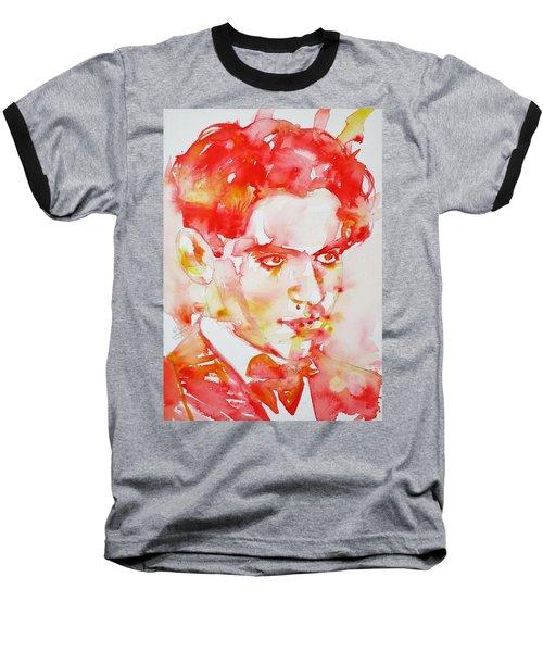 Baseball T-Shirt featuring the painting Federico Garcia Lorca - Watercolor Portrait by Fabrizio Cassetta