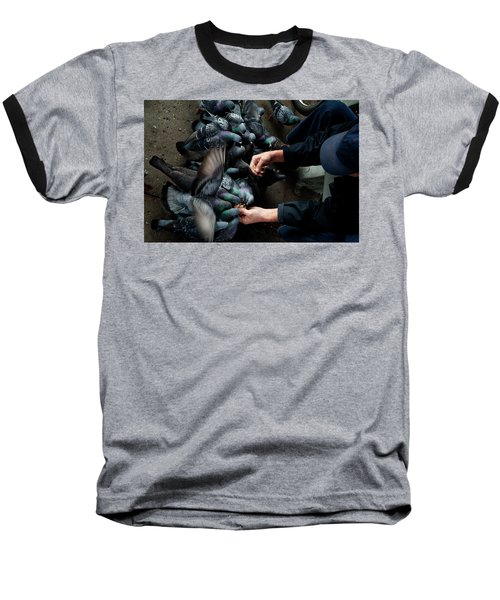 Feeding The Pigeons Baseball T-Shirt by James David Phenicie