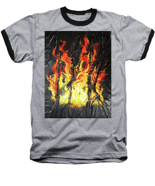 Baseball T-Shirt featuring the mixed media Fire Too by Angela Stout