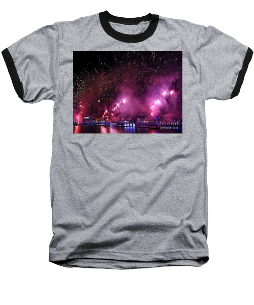 Baseball T-Shirt featuring the photograph Fireworks Along The Love River In Taiwan by Yali Shi