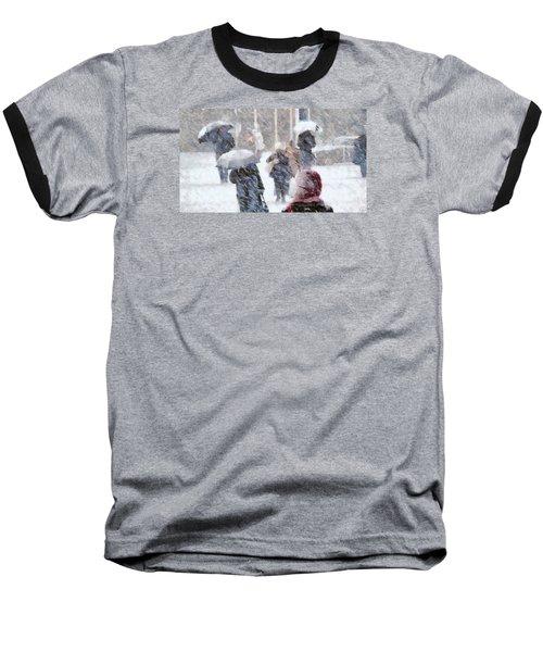 First Snow Baseball T-Shirt by Gun Legler