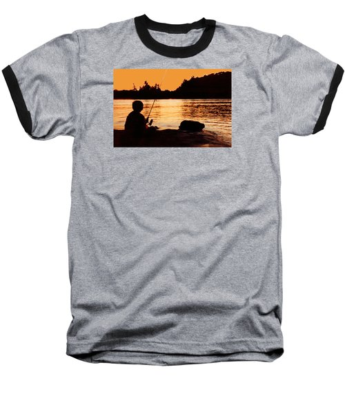 Fishing From A Rock  Baseball T-Shirt by Lyle Crump