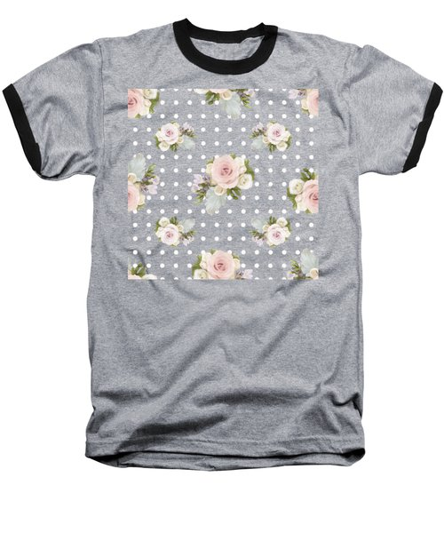 Baseball T-Shirt featuring the painting Floral Rose Cluster W Dot Bedding Home Decor Art by Audrey Jeanne Roberts