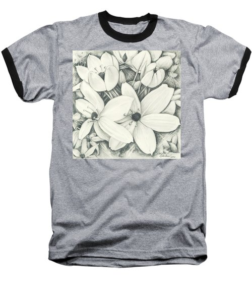 Flowers Pencil Baseball T-Shirt