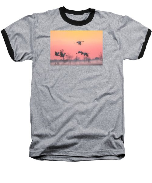 Flying Into The Light And Fog Baseball T-Shirt by Kelly Marquardt