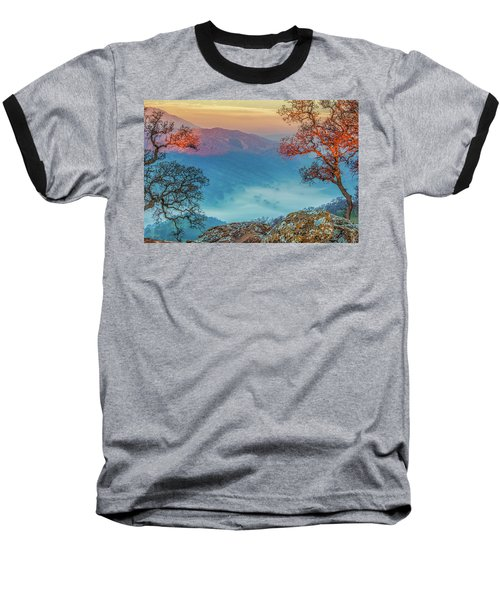 Fog In The Valley Baseball T-Shirt by Marc Crumpler