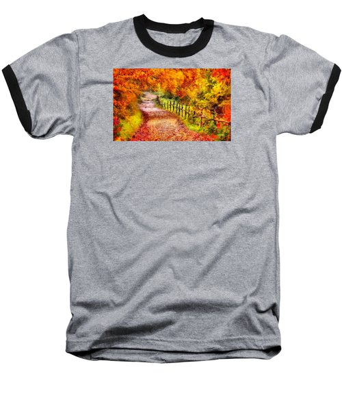 Fall Foliage Path 2 Baseball T-Shirt