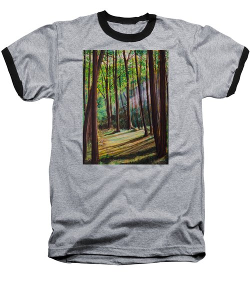 Baseball T-Shirt featuring the painting Forest Light by Ron Richard Baviello