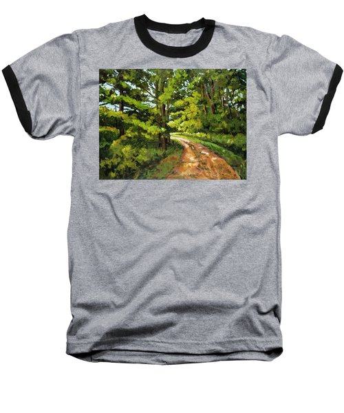 Forest Pathway Baseball T-Shirt by Alexandra Maria Ethlyn Cheshire