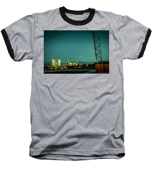 Fortworth Texas Cityscape Baseball T-Shirt