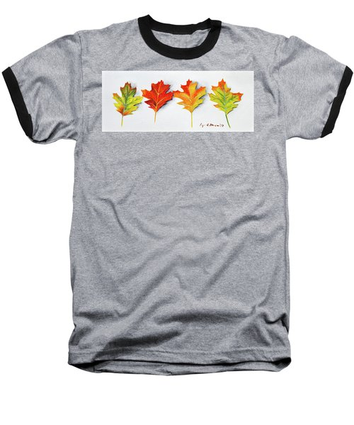 Four Autumn Leaves Baseball T-Shirt