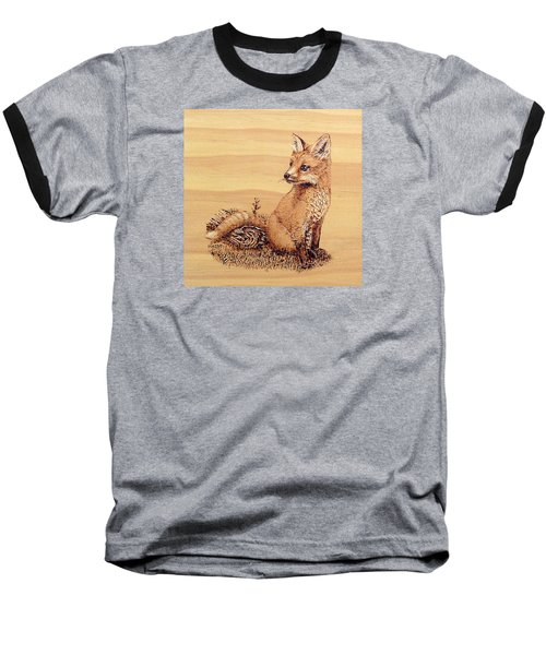 Baseball T-Shirt featuring the pyrography Fox by Ron Haist