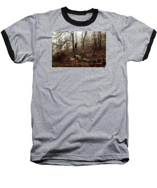 Fractured In Fog Baseball T-Shirt by Deborah Scannell