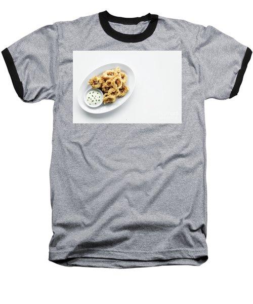 Fried Calamari Squid Rings With Aioli Garlic Sauce Baseball T-Shirt