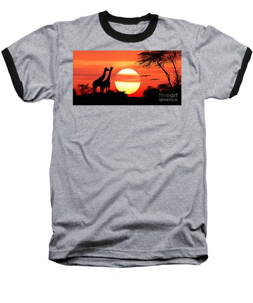 Giraffes At Sunset Baseball T-Shirt