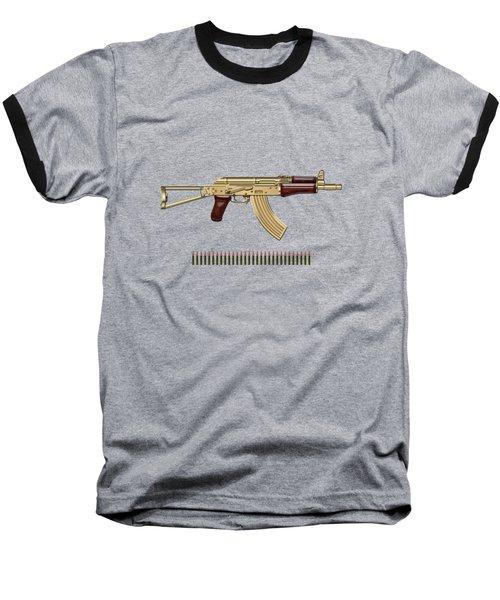 Gold A K S-74 U Assault Rifle With 5.45x39 Rounds Over Red Velvet   Baseball T-Shirt