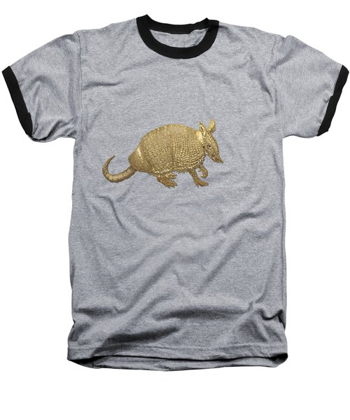 Gold Armadillo On Black Canvas Baseball T-Shirt by Serge Averbukh