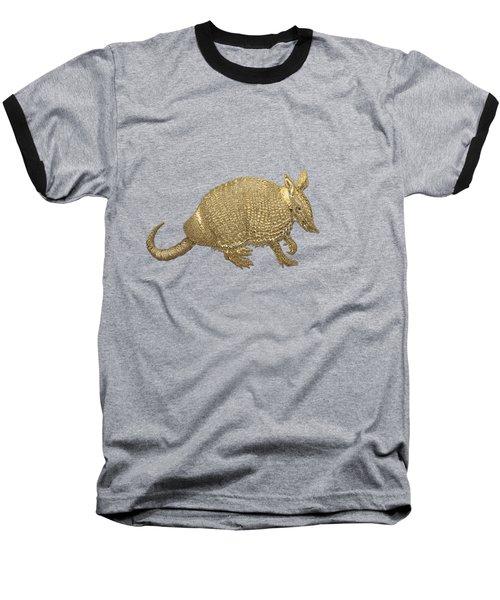 Gold Armadillo On Black Canvas Baseball T-Shirt