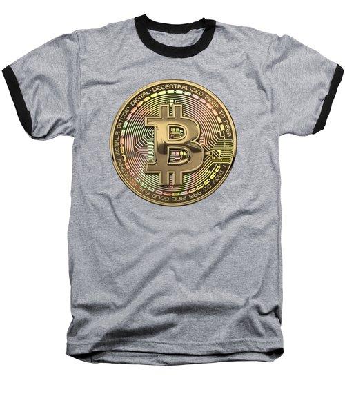 Gold Bitcoin Effigy Over Black Canvas Baseball T-Shirt