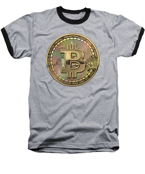 Gold Bitcoin Effigy Over Black Canvas Baseball T-Shirt