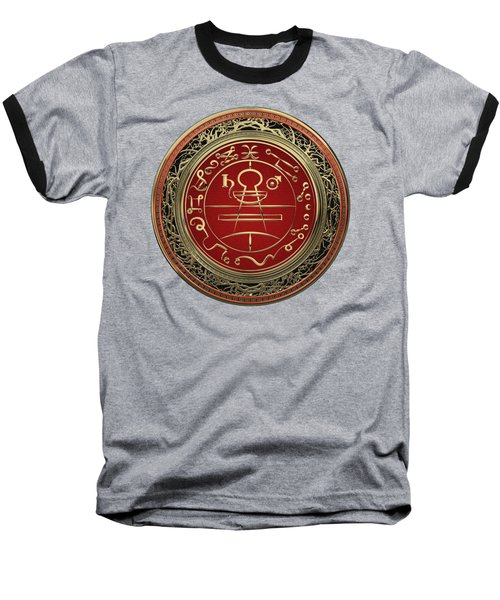 Gold Seal Of Solomon - Lesser Key Of Solomon On Black Velvet  Baseball T-Shirt