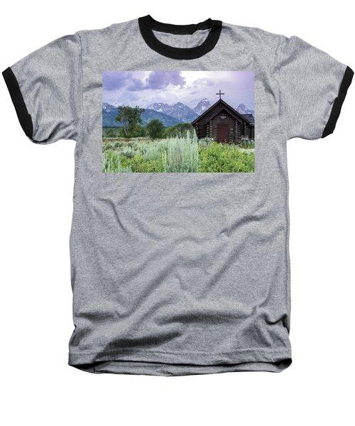 Grand Teton Church Baseball T-Shirt by Dawn Romine