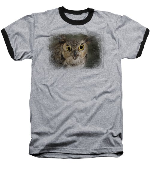 Great Horned Owl Baseball T-Shirt by Jai Johnson