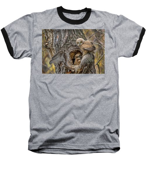 Great Horned Owlets In A Nest Baseball T-Shirt