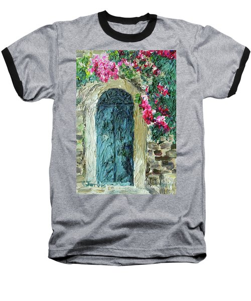 Green Italian Door With Flowers Baseball T-Shirt
